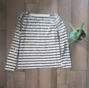 J Crew striped sequin long sleeve t shirt S